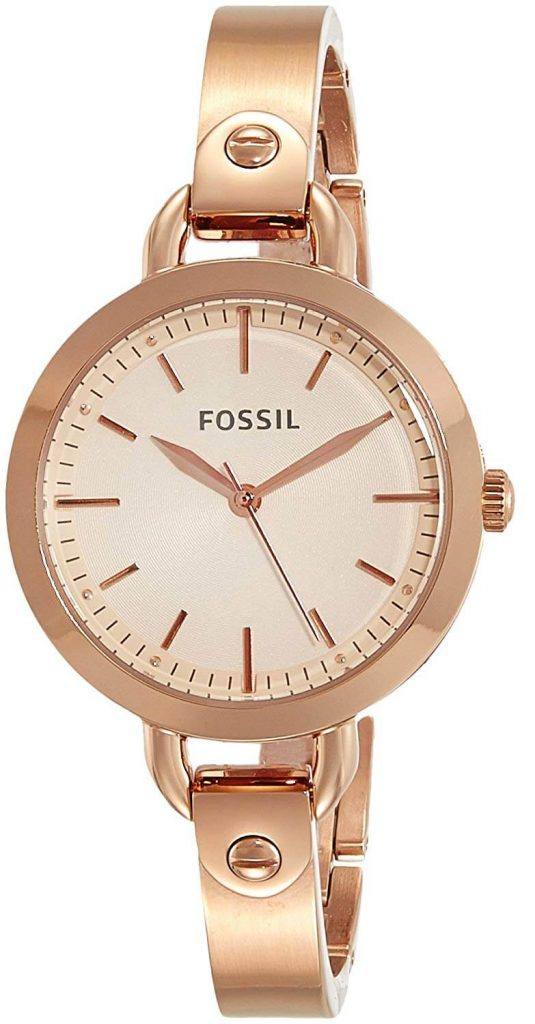 Fossil Analog Rose Gold Dial Women's Watch - BQ302