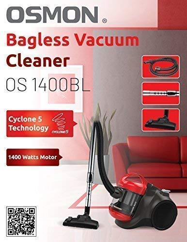 Osmon OS 1400BL 1400 Watts Imported Bagless Vacuum Cleaner